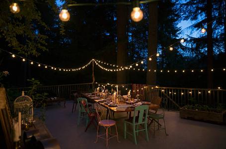 terrasse lumières table